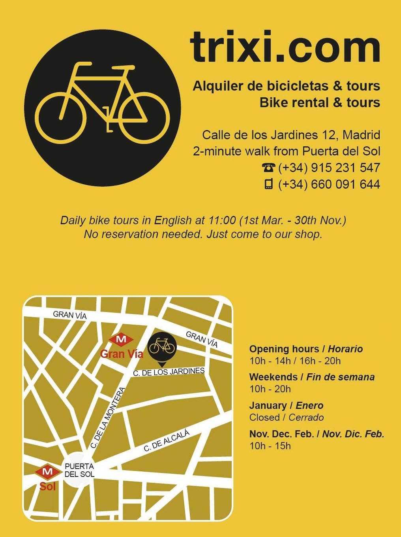 Contacte a Trixi Madrid Bike Tours & Aluguer de Bicicletas